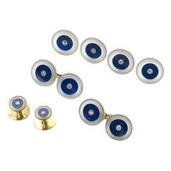 Lapis Lazuli Rock Crystal and Diamond Gold Dress-Set