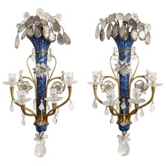Lapis Lazuli, Rock Crystal and Doré Bronze Four Arm Sconces, E.F. Caldwell, Pair