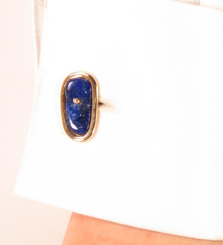 Cabochon Rose Gold Lapis Lazuli Cufflinks Handcrafted in Italy by Botta Gioielli For Sale
