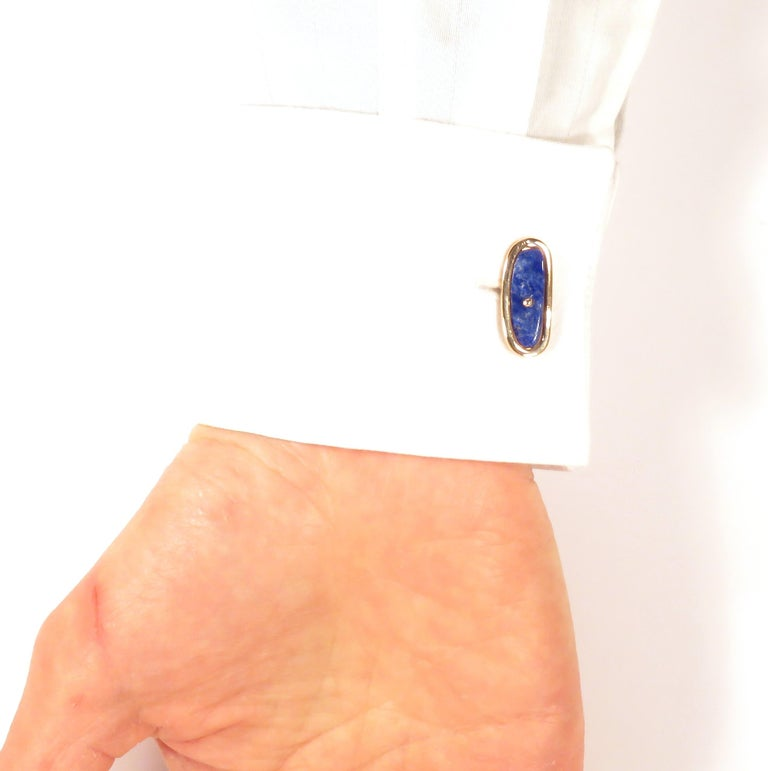 Rose Gold Lapis Lazuli Cufflinks Handcrafted in Italy by Botta Gioielli For Sale 2