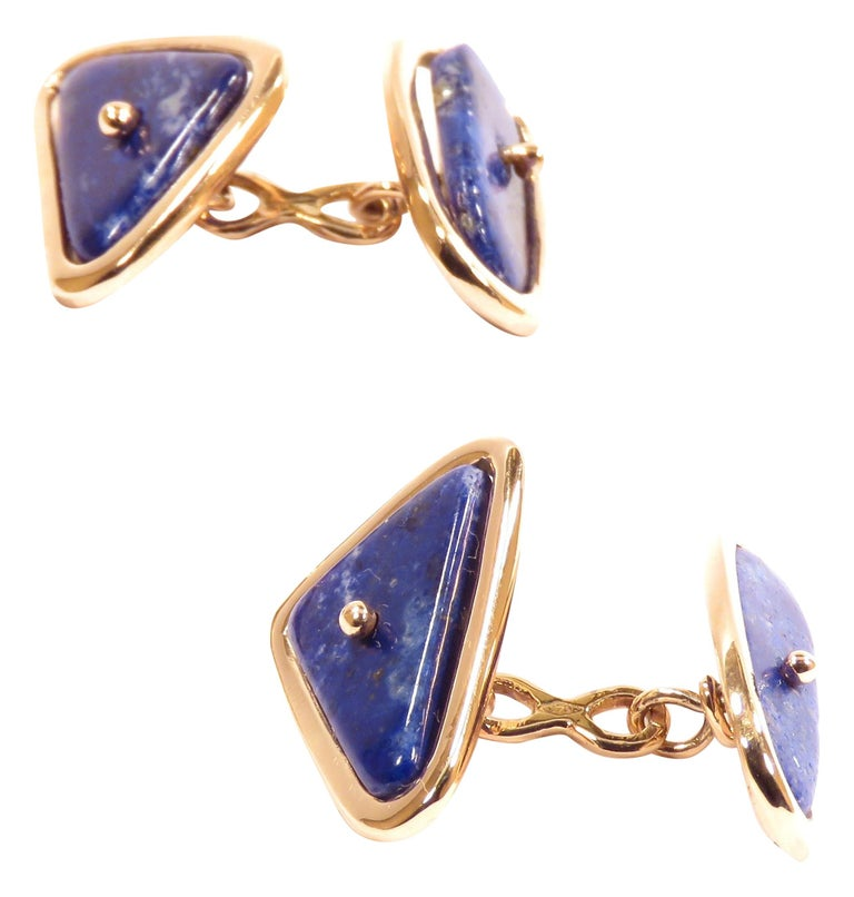 Rose Gold Lapis Lazuli Cufflinks Handcrafted in Italy by Botta Gioielli For Sale
