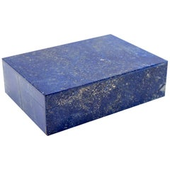 Lapis Lazuli Semi Precious Stone Box with Hinged Lid
