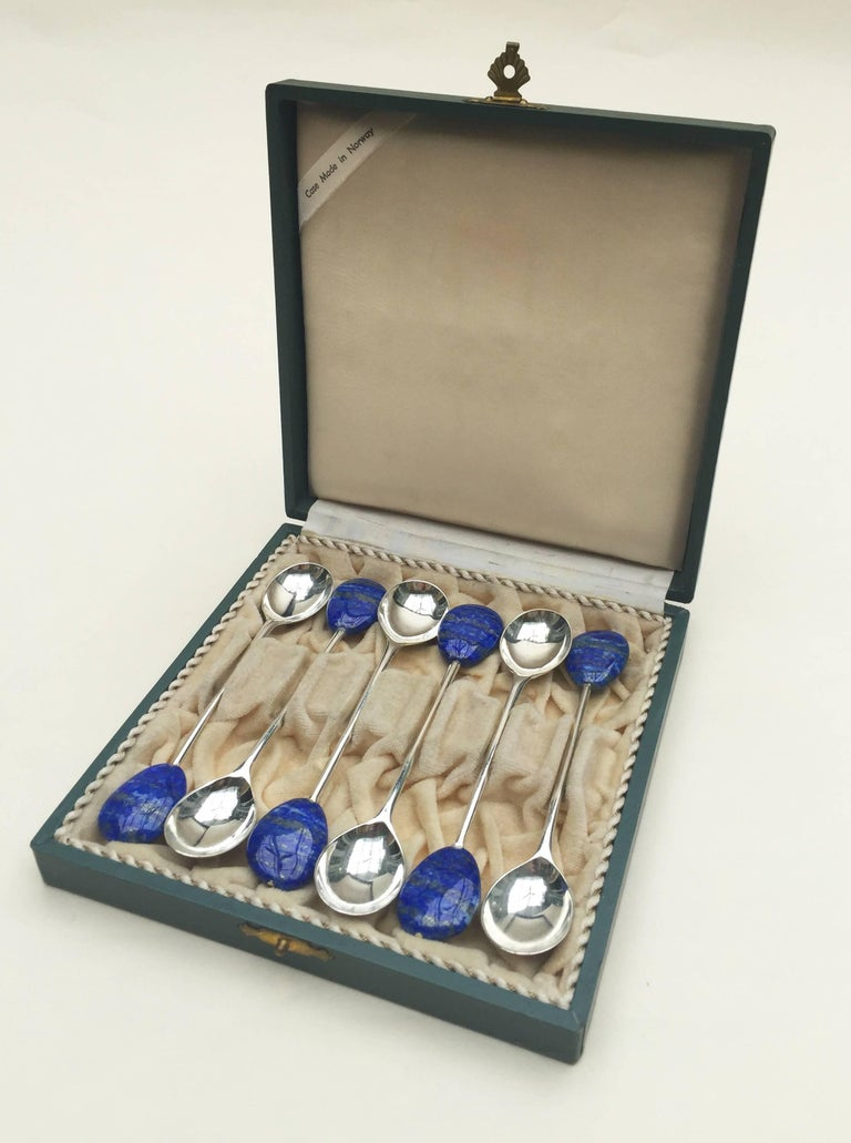 Lapis Lazuli Silver Plated Spoon Set of Six by Marina J. For Sale 2