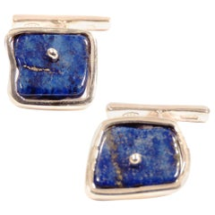 Lapis Lazuli Sterling Silver Cufflinks Handcrafted in Italy by Botta Gioielli