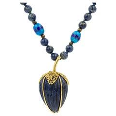Lapis Lazuli Strawberry Yellow Gold Pendant on Enamel Lapis Bead Necklace