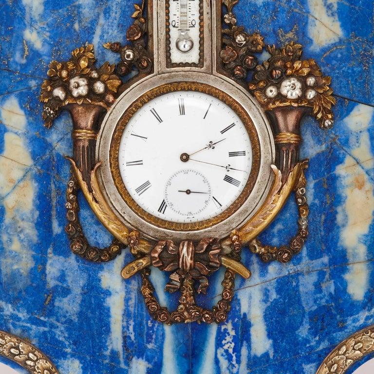 Belle Époque Lapis Lazuli Table Clock and Barometer For Sale