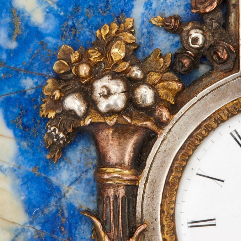 Russian Lapis Lazuli Table Clock and Barometer For Sale
