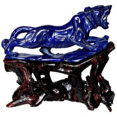 Lapis Lazuli Tiger Sculpture Statue, 2 lb Natural with White Tooth