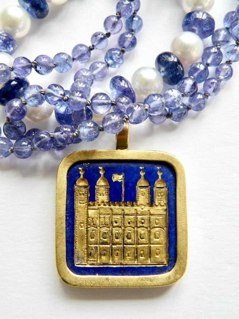 Contemporary Lapis Lazuli Tower of London Pendant For Sale
