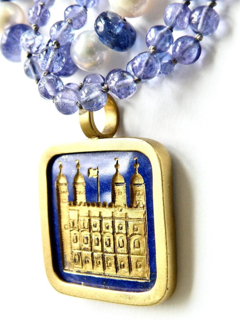 Cabochon Lapis Lazuli Tower of London Pendant For Sale