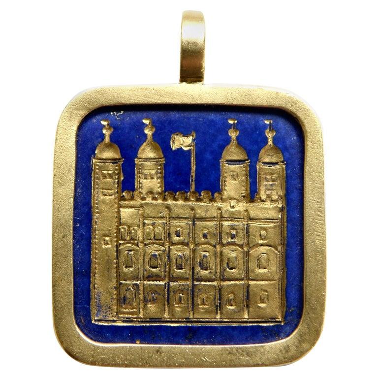 Lapis Lazuli Tower of London Pendant For Sale
