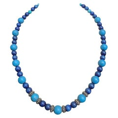 Exolette Lapis Lazuli Turquoise and Silver Beaded Necklace
