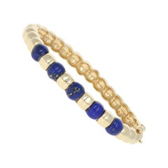 Lapis Lazuli Vintage Bracelet 14 Karat Yellow Gold Oval Bangle