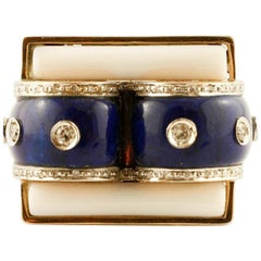Lapis Lazuli, White Agate, Diamonds, Italian Style Fashion Ring