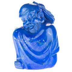 Lapis Lazuli Wise Men Figurine Carved Human Culture Artisanal Statue Sculpture