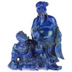 Lapis Lazuli Wise Men Figurine Carved Man Artisanal Statue Handmade Sculpture