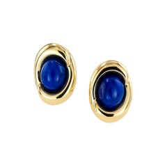 Lapis Lazuli Yellow Gold Clip On Small Button Earrings