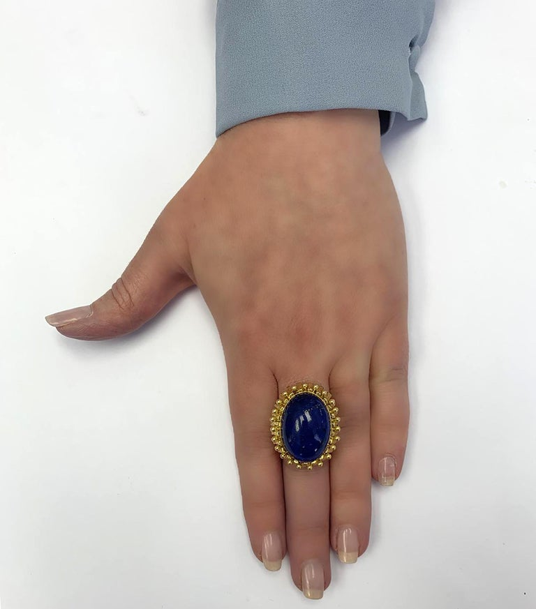 Cabochon Lapis Lazuli Yellow Gold Cocktail Ring