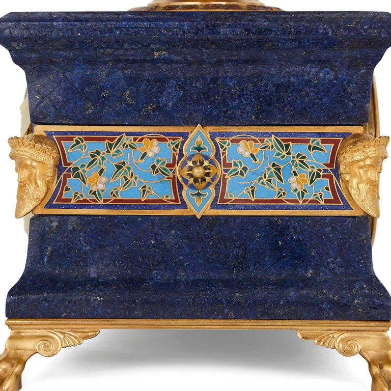 Lapis, enamel, and gilt bronze clock garniture In Good Condition For Sale In London, GB
