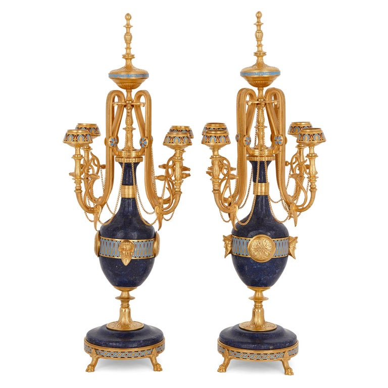 19th Century Lapis, enamel, and gilt bronze clock garniture For Sale