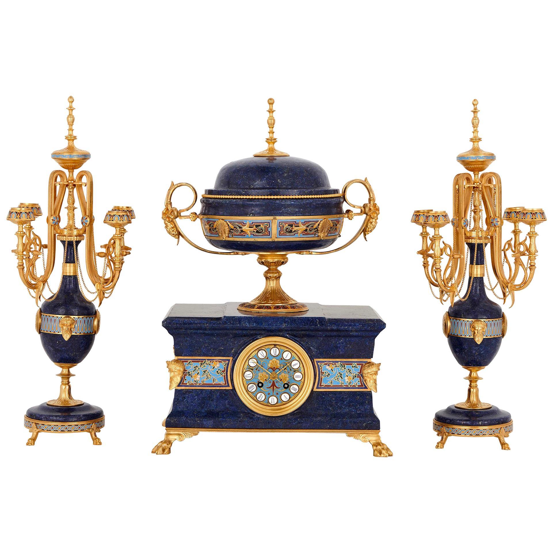 Lapis, enamel, and gilt bronze clock garniture