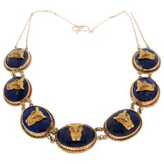 Lapis Owls 9 Karat Yellow Gold, Choker Necklace