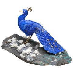 Lapis Peacock Carving Idar-Oberstein Germany Eberhard Bank