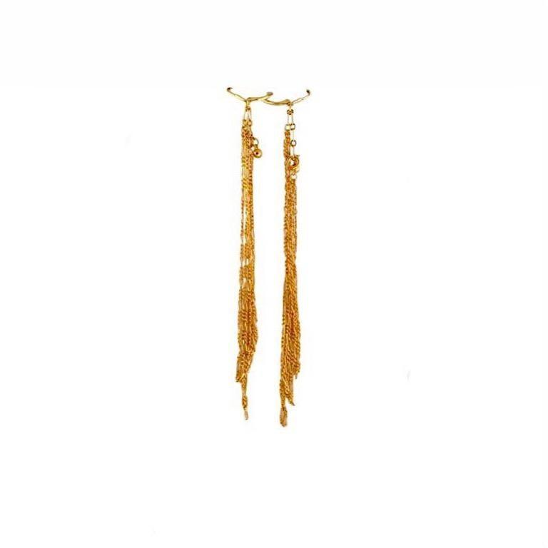 Modern Exolette Lapis Pearl Gold Vermeil Necklace w/ Long Dangle Gold Vermeil Earrings For Sale