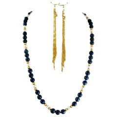 Exolette Lapis Pearl Gold Vermeil Necklace w/ Long Dangle Gold Vermeil Earrings