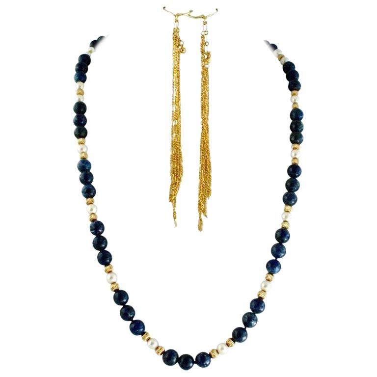 Exolette Lapis Pearl Gold Vermeil Necklace w/ Long Dangle Gold Vermeil Earrings For Sale