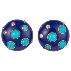 Lapis Turquoise and Diamond Earrings
