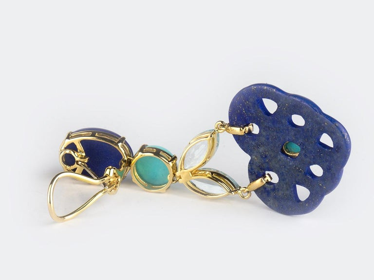 18k gold Lapis, Turquoise. Aquamarine, and Diamond ear pendants.