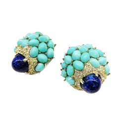 Lapis, turquoise cabochon, clear paste 'cluster' earrings, Marcel Boucher, 1960s