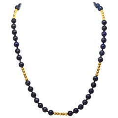 Lapis Yellow Gold Bead Necklace
