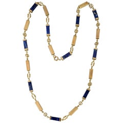 Lapiz Lazuli and Gold Long Chain Necklace
