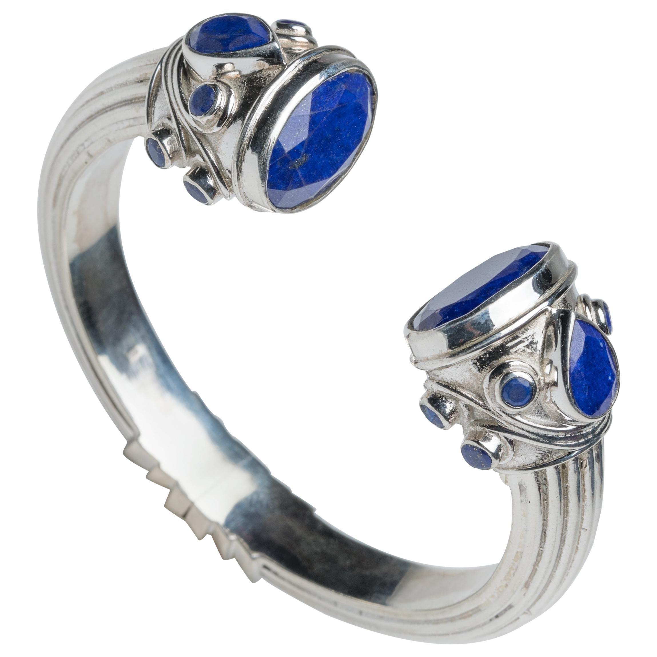 Lapiz Lazuli and Sterling Silver Clamper Cuff Bracelet