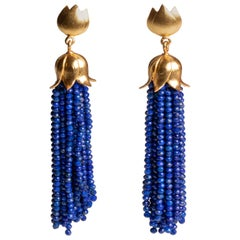 Lapiz Lazuli Tassel Dangle Earrings