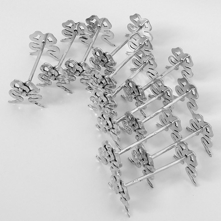 Lapparra Rare French All Sterling Silver Knife Rests Set of 12-Piece, Ribbon For Sale 3