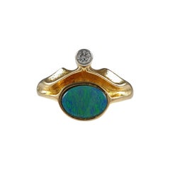 Lapponia 18ct Yellow Gold Diamond & Opal Doublet Ring, 1981