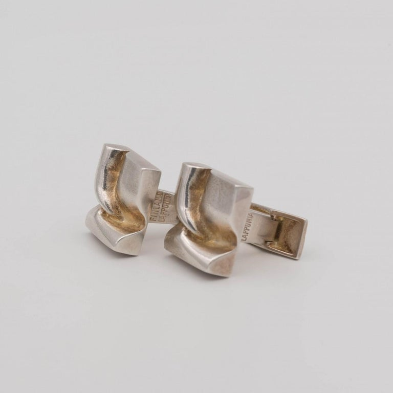Finnish Lapponia Silver Cufflinks by Bjorn Weckstrom, Dated 1975 For Sale