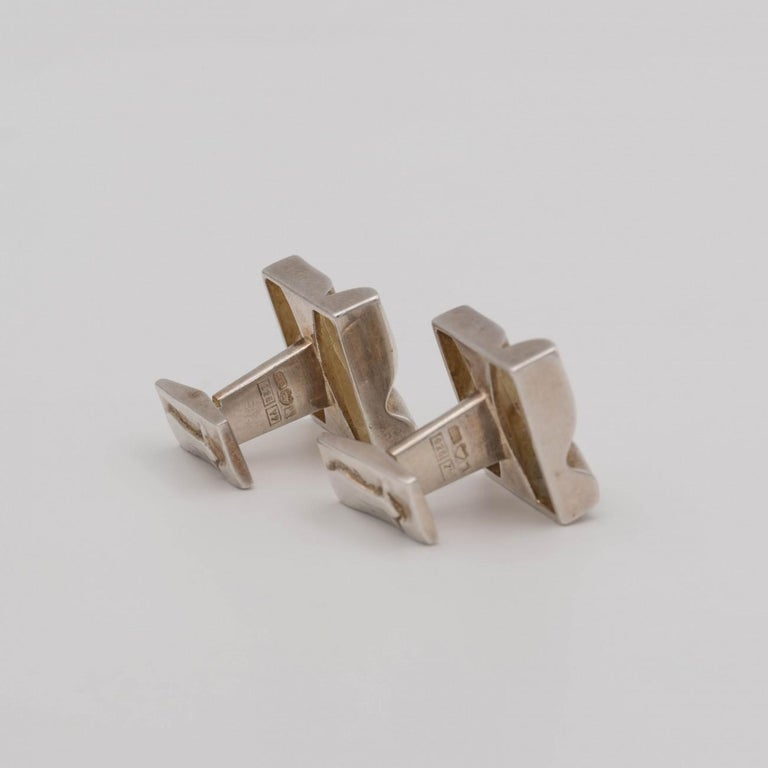 Late 20th Century Lapponia Silver Cufflinks by Bjorn Weckstrom, Dated 1975 For Sale