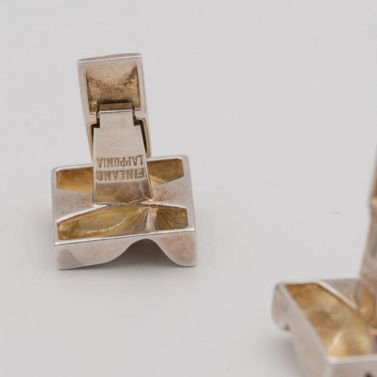 Lapponia Silver Cufflinks by Bjorn Weckstrom, Dated 1975 For Sale 4