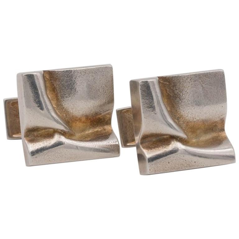 Lapponia Silver Cufflinks by Bjorn Weckstrom, Dated 1975 For Sale