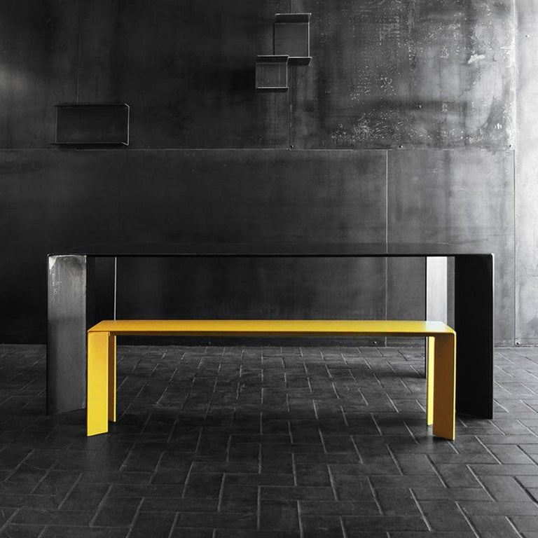 Bench Laqué yellow all in wrought Steel with high quality lacquered paint. Also available with all RAL colored paint on request.