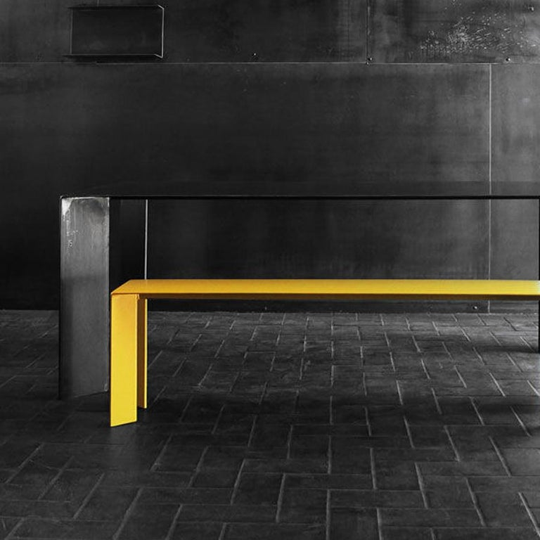 French Laqué Yellow Bench in Steel For Sale