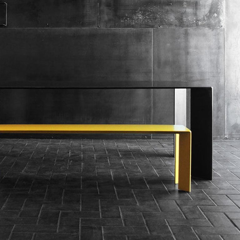 Forged Laqué Yellow Bench in Steel For Sale