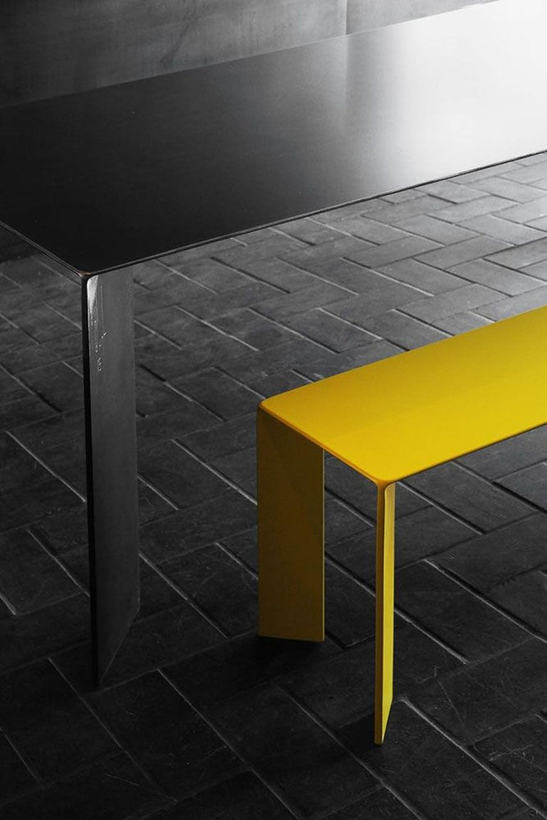 Laqué Yellow Bench in Steel In New Condition For Sale In Paris, FR