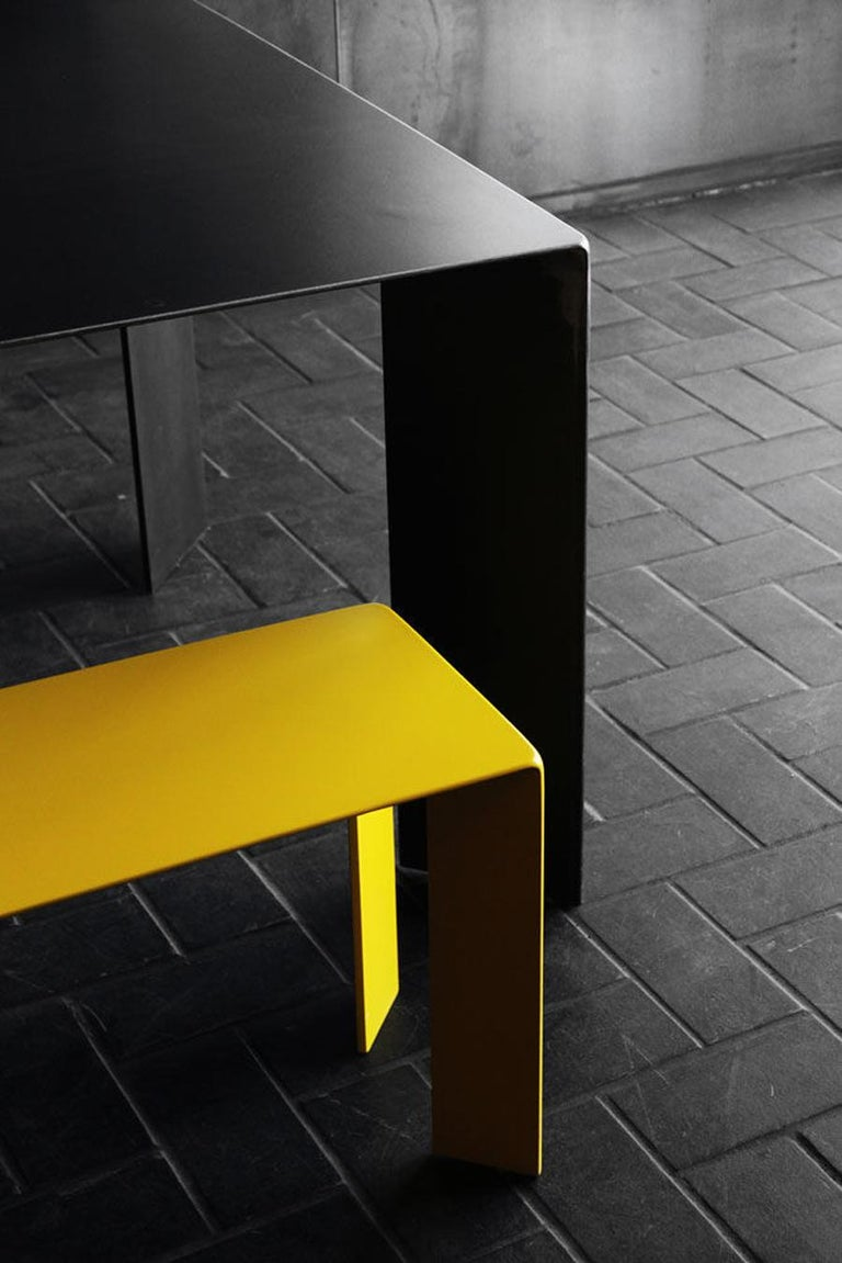 Contemporary Laqué Yellow Bench in Steel For Sale