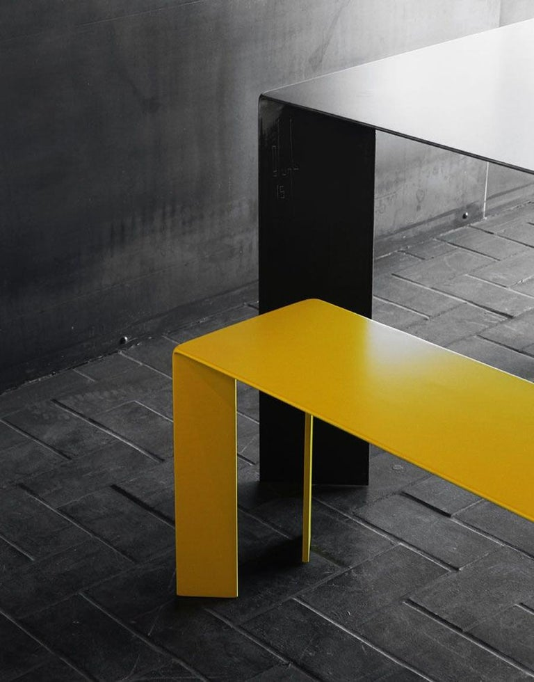 Laqué Yellow Bench in Steel For Sale 1