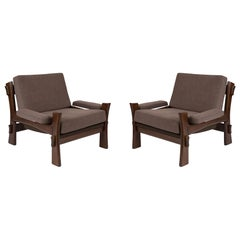 Laquered Oak & Grey Upholstered Danish Lounge Chairs